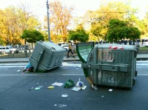 courtesy commons.wikimedia.org/wiki/File:Belgrade_2010-10-10_overturned_dumpsters.jpg