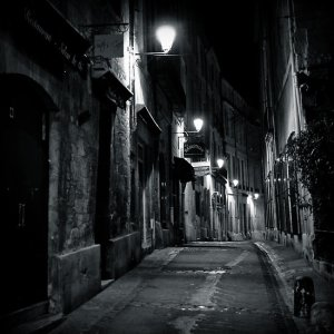 courtesy http://www.redbubble.com/people/n1k0/works/4466978-dark-street-montpellier-france-2009