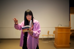 SYRACUSE, NY - Transgender riter, performer, and educator, professor of English at Santa Monica College, Ryka Aoki gives a speech at Watson Theater of Syracuse University on Apr. 9, 2012. She dedicates to transgender, genderqueer, and intersex group.